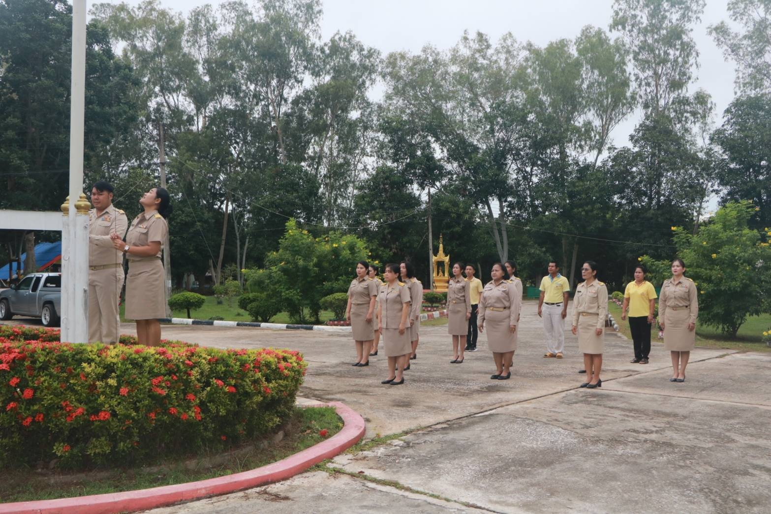 สำนักงาน กศน.จังหวัดกำแพงเพชร ร่วมกิจกรรมวันพระราชทานธงชาติไทย
